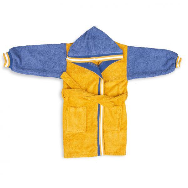 Geltonas vaikiškas chalatas su mėlynomis rankovėmis ir kapišonu