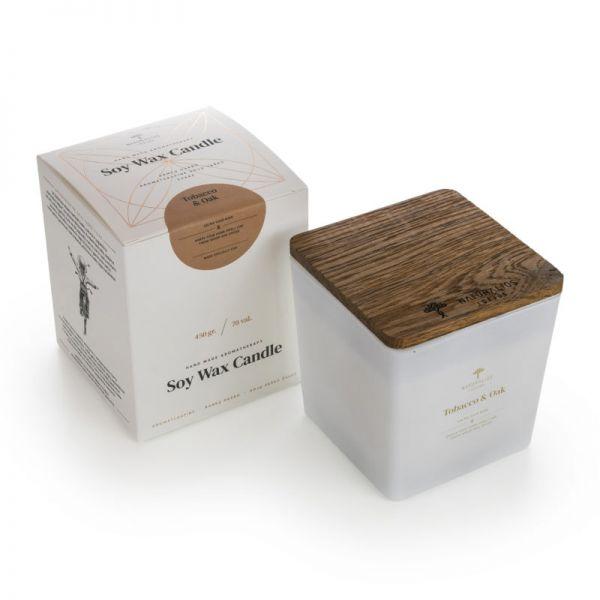 Aromaterapinė Sojų Vaško Žvakė Blackcurrant & Cedarwood WHITE/GOLD 450g