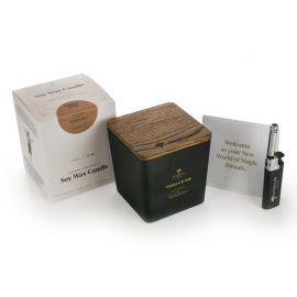 Aromaterapinė Sojų Vaško Žvakė Tobacco & Oak BLACK/GOLD 450g