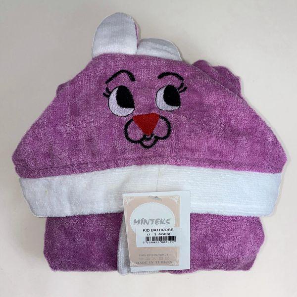 Vaikiškas chalatas su kapišonu violetinis su baltu 5-6 m.