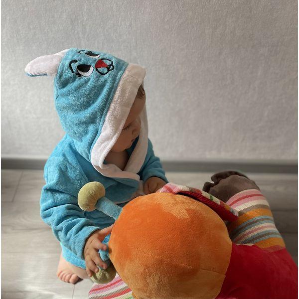 Vaikiškas chalatas su kapišonu mėlynas su baltu 1-6 m.