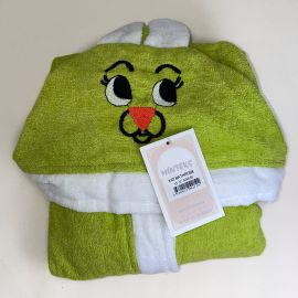 Vaikiškas chalatas su kapišonu žalias su baltu 3-6 m.