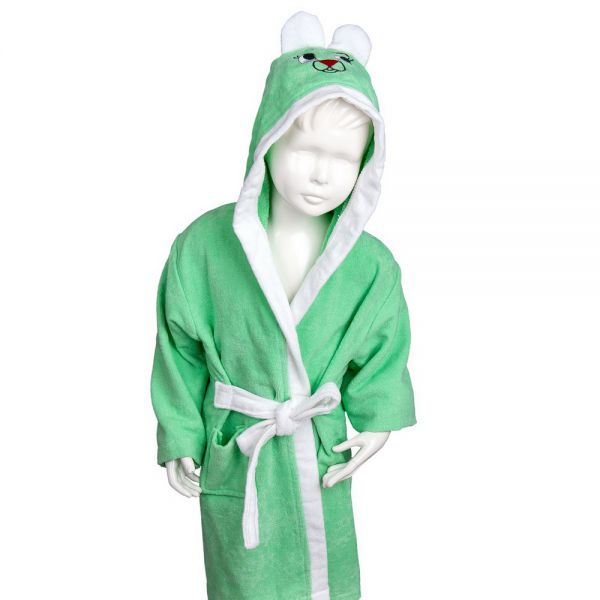 Vaikiškas chalatas su kapišonu šviesiai žalias su baltu 3-4 m.