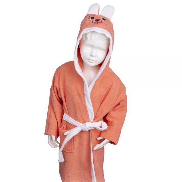 Vaikiškas chalatas su kapišonu oranžinis su baltu 3-4 m.