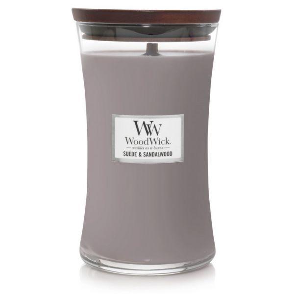WoodWick large jar sueded/sndalwood žvakė