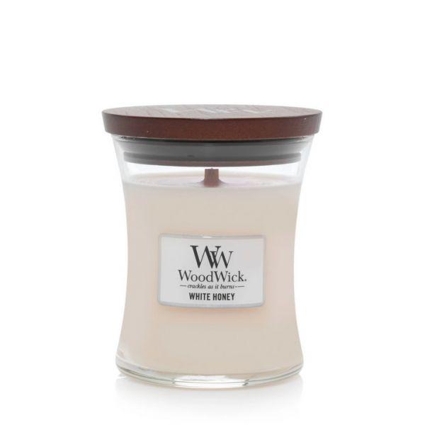 WoodWick medium jar white honey žvakė