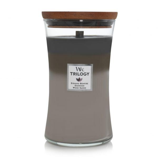 WoodWick trilogy large jar cozy cabin žvakė