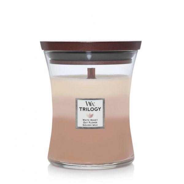 WoodWick trilogy medium jar Golden treats žvakė
