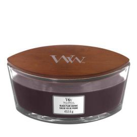 WoodWick Ellipse Black plum cognac žvakė