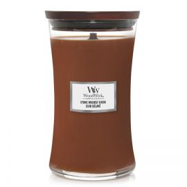 WoodWick large jar Stone Washed Suede žvakė