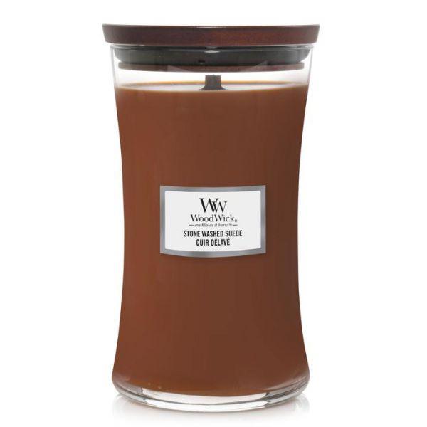 WoodWick large jar Stone Washed Suede žvakė