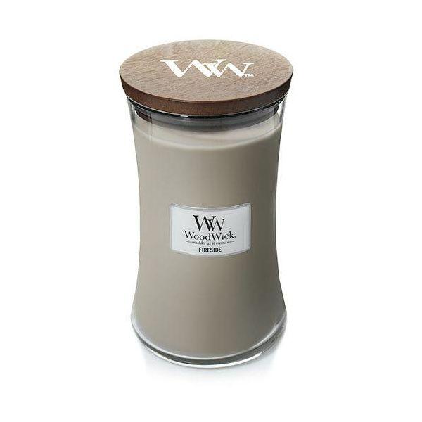 WoodWick large jar Fireside žvakė