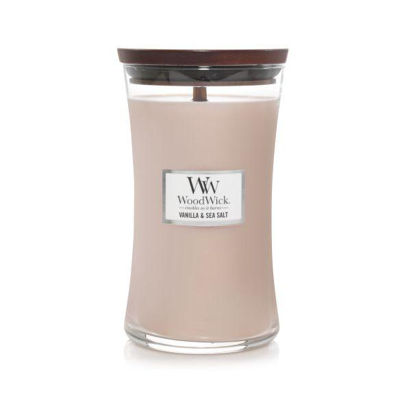 WoodWick large jar Vanilla sea salt žvakė