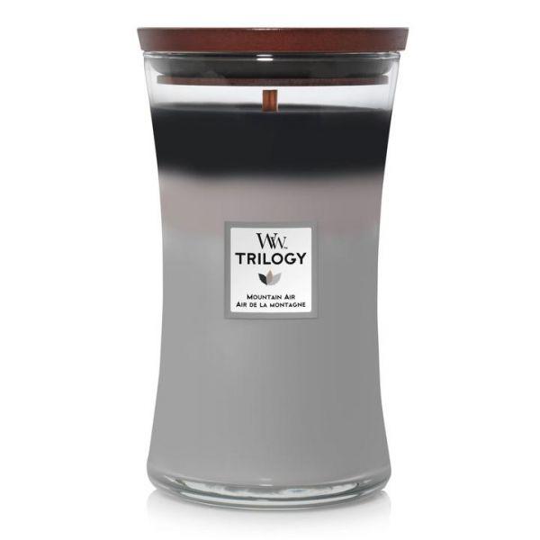 WoodWick large jar Trilogy Mountain air žvakė