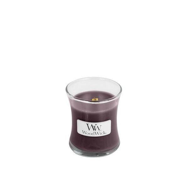 WoodWick mini Black plum cognac žvakė