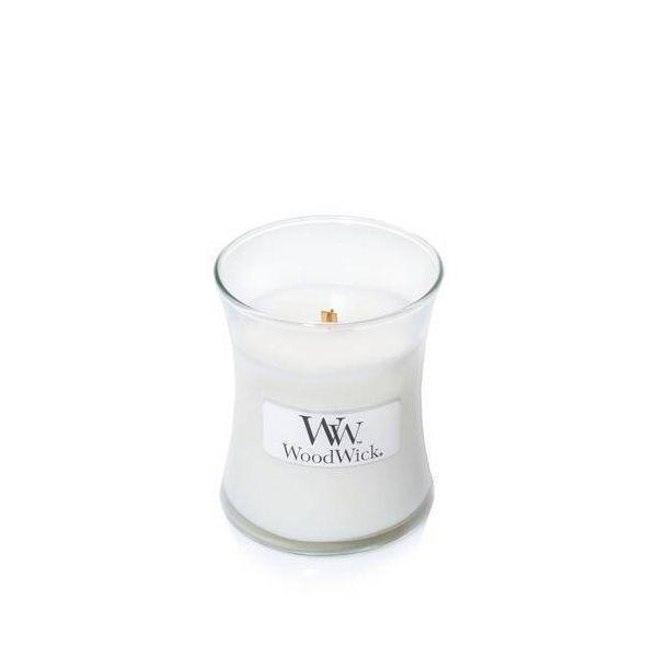 WoodWick mini White teak žvakė