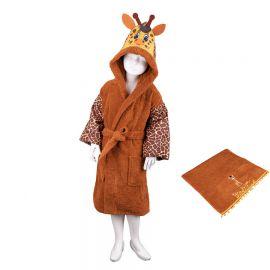 Komplektas iš vaikiško chalato su kapišonu ir rankšluosčio Žirafa