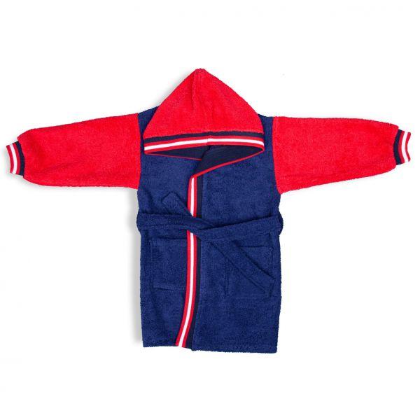 Mėlynas vaikiškas chalatas su raudonomis rankovėmis ir kapišonu
